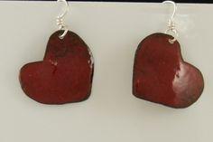 Small Red Enamel Valentine Heart Earrings on Sterling silver ear wires 2495