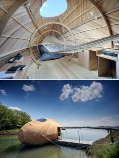 Floating Office Egg. Designed by SPUD, PAD, boat builder Paul Baker and Navel Architect Stephen Payne. Used reclaimed timber and solar panels.