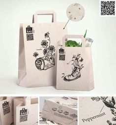 """Meet the brand-new shopping bag which is not just nature-friendly..but pure nature itself! The paper of the EcoBag contains built-in seeds of various plants. Wherever you throw it away, it will desintagrete after rain and turn into a small lawn of grass, camomile or clover.""  The design on the bag says it all: plants growing in unwanted items. It conveys the brand effectively."