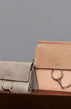 Chloé Faye Bag (tan/pink & grey)