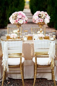 pink and gold wedding and lovely Wedding chairs decorations