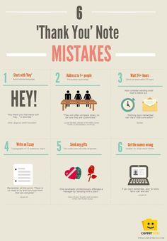 6 'Thank You' Note Mistakes [Infographic] from CareerBliss. How long to wait to send a thank you note?