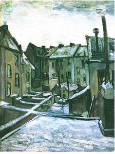 Backyards of old Houses in Antwerp in the Snow by Vincent Van Gogh.