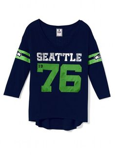 Seattle #Seahawks Three Quarter Sleeve Drapey Tee.