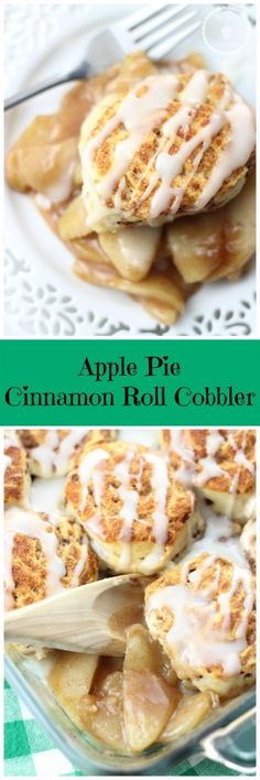 APPLE PIE CINNAMON ROLL COBBLER! Homemade apple pie filling topped with glazed cinnamon rolls!