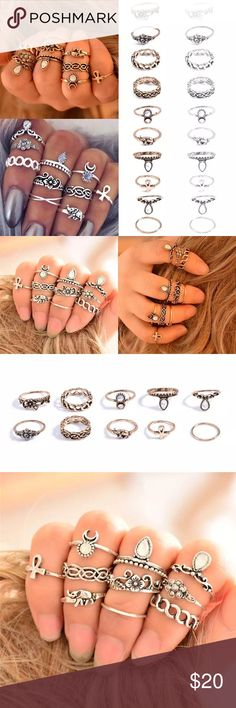 Bohemian 10 piece vintage ring set Bohemian 10 piece stackable vintage ring set, RESIZABLE, light yellow gold & silver finish available. Offers accepted :) Jewelry Rings