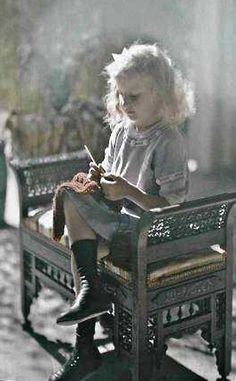 knitting ... antique autochrome (transparency) from Michel Bourlès