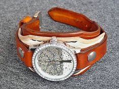 leon / Dámske bielo hnedý remienok s hodinkami