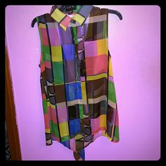 Colorful sheer  plaid button up sleeveless top Bought from a local boutique. Colorful sheer plaid button up sleeveless top, with collar. With a deep v back. Super cute top great with any color bandeau underneath. Excellent condition. Worn maybe twice. xtaren Tops Tank Tops