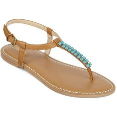 Liz Claiborne Gypsy Beaded Flat Thong Sandals (26 AUD) ❤ liked on Polyvore featuring shoes, sandals, flats, sapatos, flat sandals, strappy flat sandals, flats sandals, beaded sandals and strappy sandals