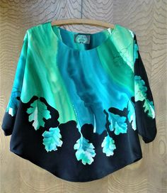 Hand Painted Silk Crepe de Chine Butterfly Crop Top Blouse in