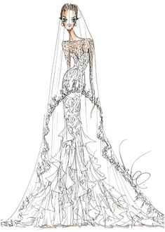 Theia sketch for Angelina Jolie's wedding dress #weddings. Illustration courtesy of the designer.