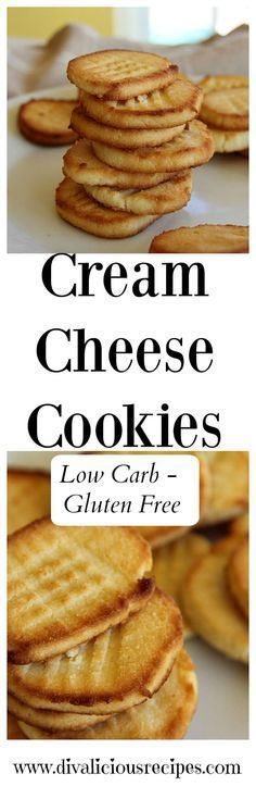 Cream cheese adds a lovely flavour and texture to these cream cheese cookies. Baked with coconut flour they are low carb and gluten free too. Recipe: http://divaliciousrecipes.com/2017/03/19/cream-cheese-cookies-low-carb/