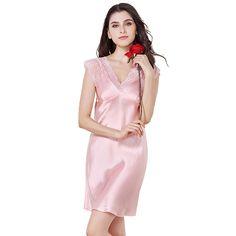 Silk Pajamas Chemise Sexy Elegant Slip Sleepwear for Women