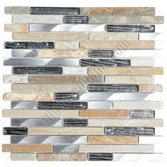 Install vertically. Tile Store Online $18 sf from Unicorn Glass.    Linear Glass Stone and Metal Mosaic - GS4012 - 5/8 X Linear Strips Sticks of Glass Tile, Quartz Slate, and Brushed Aluminum Metal