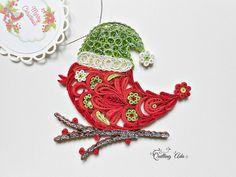 Quilled Christmas bird