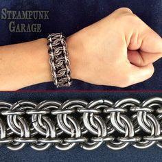 Bracelet  Heavy Duty Steel  12 gauge King's Scale Weave