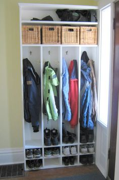 Nice mudroom shelving. Like the extra shelves for baskets, etc.