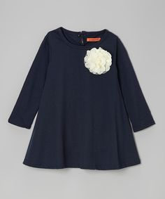 Take a look at this Navy Blue Rosette Swing Dress - Toddler & Girls on zulily today!