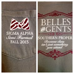 Sigma Alpha sorority Southern Proper semi-formal shirt
