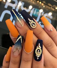 Ballerina Nägel - 40 amazing ideas for every occasion- Ballerina nails ideas for any occasion orange and blue ombre nails with stones and lines - Best Acrylic Nails, Acrylic Nail Designs, Nail Art Designs, Matte Nails, Orange Nail Designs, Gradient Nails, Holographic Nails, Stiletto Nails, Nails Design