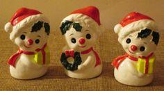 Brinn's Ceramic Vintage Snowmen, Three Pieces