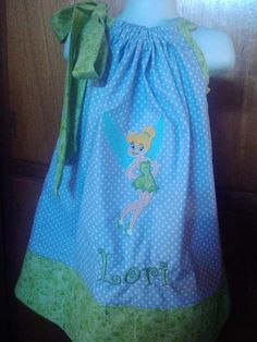 tinkerbell applique pillow case dress by BEDAZZLED11 on Etsy, $18.00