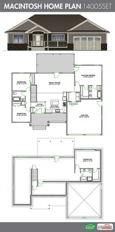 Sandalwood 4 bedroom 3 bath home plan features open for Basement access from garage