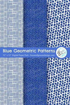 Stripes, dots and triangles in blue and white. Monochrome geometric digital pattern set for your scrapbooks, greeting cards, journals and graphic designs. By House of Grouse Design, the cutest digital scrapbooking warehouse. Geometric Background, Background Patterns, Printable Crafts, Printable Paper, Surface Pattern Design, Pattern Designs, Origami Patterns, Monochrome Pattern, Retro Pattern