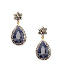 Blake Scott  Raw Blue Sapphire & Rose Cut Diamond Drop Earrings