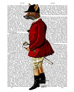 Fox Hunter 1 on upcycled recycled repurposed Dictionary Page, Fox hunting, Fox Print, Fox Picture, Hunting Art Print Illustration Painting