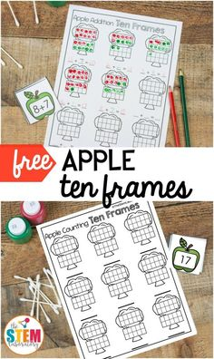A fun way to practice counting to twenty, or work on early addition as we head back to school this fall. A fun printable math game for preschool and kindergarten. Perfect for math centers this fall or in an apple unit! Ten Frame Activities, Apple Activities, First Grade Activities, Teaching First Grade, 1st Grade Math, Kindergarten Math, Math Activities, Holiday Activities, Math Worksheets
