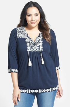 Lucky Brand Embroidered Split Neck Top (Plus Size) available at #Nordstrom