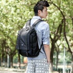 Black UNISEX's Fabric Backpack,Classic Casual Backpack,Cool School Backpack,Outdoor Backpack          Color: Black      Gender: UNISEX (Women Men)      Material: Fabric      Method: Double Buckles,Zipper      End Use: Classic,Lifestyle,Leisure,School      Size: Medium      Use: Backpacks,Shoulder      Interior Structure: 3 Card Holders,2 Pen Holders,Inside Zipper Pockets,Cellphone Pocket,Laptop Compartment(14-inch)      Dimension: 30.0*40.0*14.0 CM    $57.42