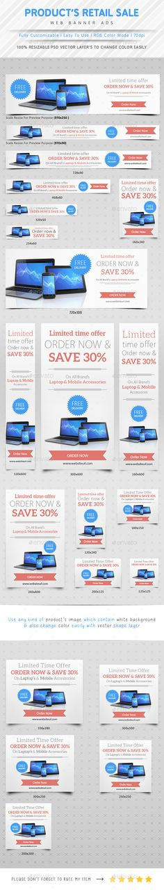 Product Retail Sale Web Ads Banners | Download: http://graphicriver.net/item/product-retail-sale-web-ads/10336984?ref=ksioks