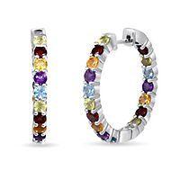 Multi-Gemstone Inside-Out Hoop Earrings in Sterling Silver