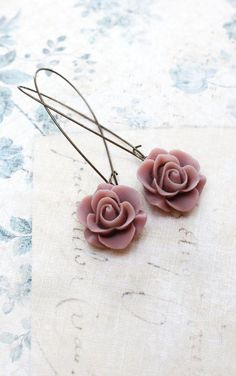 Dusty Rose Pink Earrings Vintage Style Rose