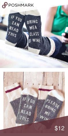 NEW Bring Me Wine Humor Funny Socks O/S New in package - light gray (seen in 2nd photo) fits up to US 10 shoe Accessories
