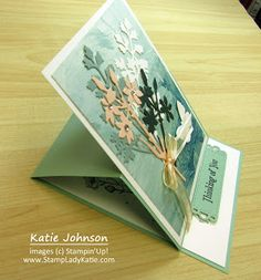 This easel is decorated with the tall foliage dies from StampinUp's Quiet Meadow Die set. One Sheet Wonder, Easel Cards, Blog Images, Stampin Up, Projects, Log Projects, Blue Prints, Stamping Up