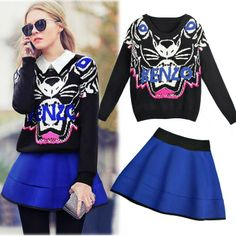 New Arrival 2014 Spring/Autumn Women's Sets 0-Neck Long Sleeve Pattern Sweater And Patchwork Skirt ,Clothing set Free Shipping