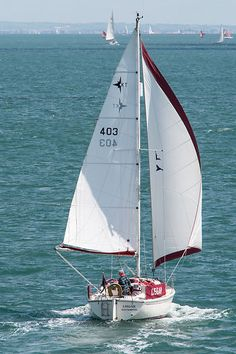 Westerly Konsort yacht 'Lisgar' sailing goose-winged in the Solent.