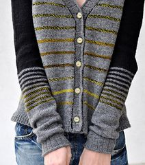 used fingering yarn with smaller needle made into a cardigan Different stripe-pattern want to make it boxy and short but keep the fitted sleeves. Ha haaa…. it is finished and does not look like m...