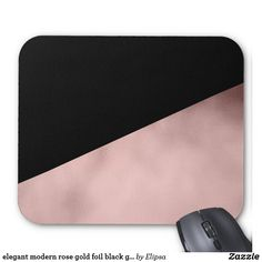 elegant modern rose gold foil black geometric mouse pad