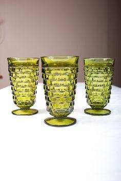 Vintage Green Glassware  Set of 3 Retro by ThePinkBunnyVintage, $15.00