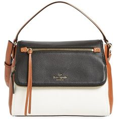 kate spade new york 'small cobble hill - toddy' colorblock leather... (15.820 RUB) ❤ liked on Polyvore featuring bags, handbags, leather flap handbag, satchel purse, cognac leather handbags, kate spade satchel and black and white handbags