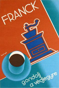Sándor Bortnyik, poster artwork for Franck Coffee, 1930. Including bauhaus font and colors. Via bedo.hu