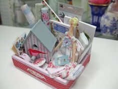 Dollhouse Miniature Tilda Style Display with by JillysLittleGifts