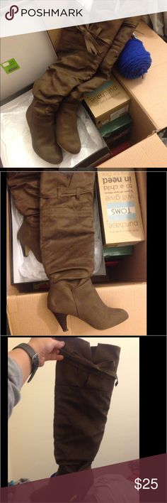 """JustFab Knee High boots Brown faux suede knee high boots with 2"""" heels. Has a bow strap on the top. See photos. Size 7. Only worn once. I love them. Keeps me warm and super comfy, but my feet no longer fits after pregnancy. JustFab Shoes Over the Knee Boots"""