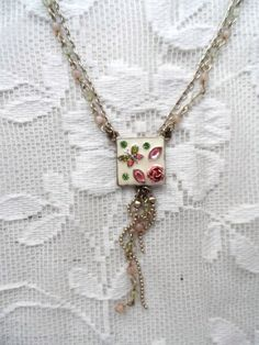 Vintage Enameled Necklace with Butterfly & Rose Inlay - Multi-Chain Necklace- Creamy Ivory, Pink ,Green- Delicate Workmanship-Detailed Work