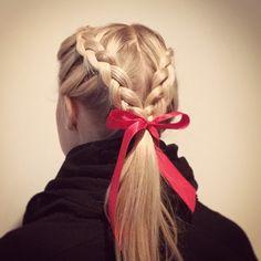 Perfect braid to fit under my horseback riding helmet Braided Cheer Hair, Ribbon Hairstyle, Hairstyles With Ribbon, Ribbon Braids, Volleyball Hairstyles, Helmet Hair, French Braid Ponytail, Braided Hairstyles Tutorials, Horse Hair